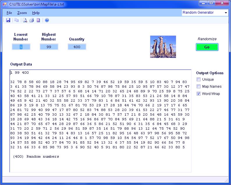 Random number software for Random number table 1 99